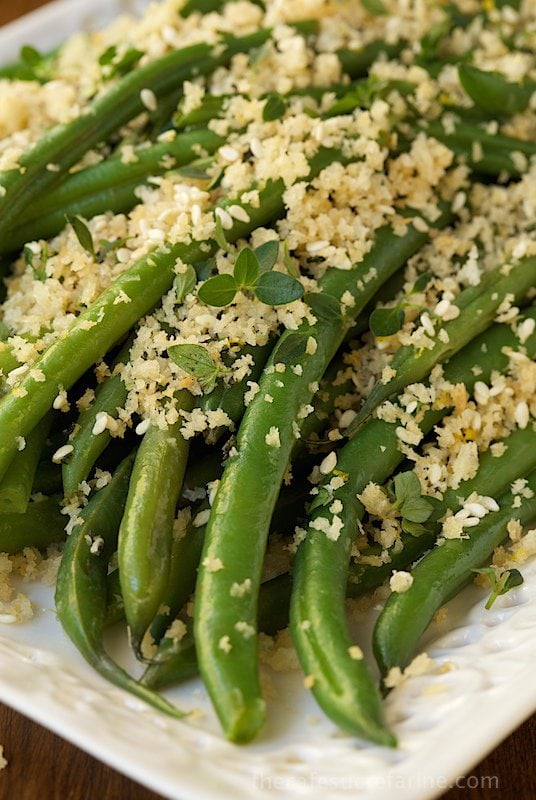 Make Ahead Green Beans - fresh, tender green beans with a buttery panko and herb topping, a far cry from a green bean casserole but this will be just as well loved!