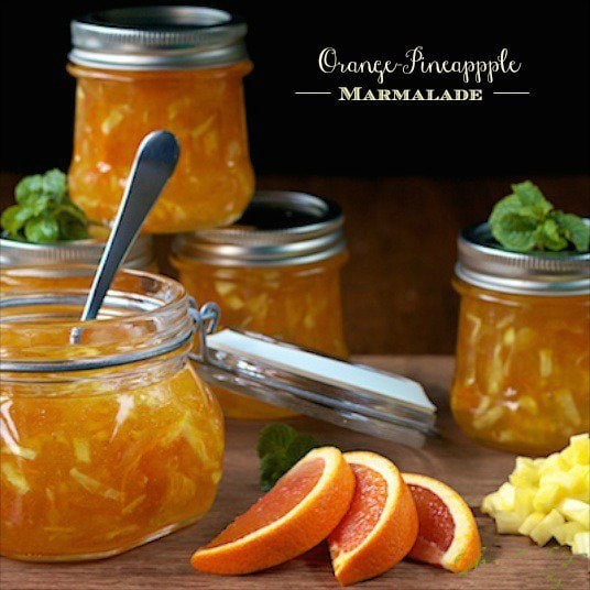 Orange Pineapple Marmalade - this is delicious and super easy to make, no canning knowledge needed). It's like a bit of sunshine spread on your toast!