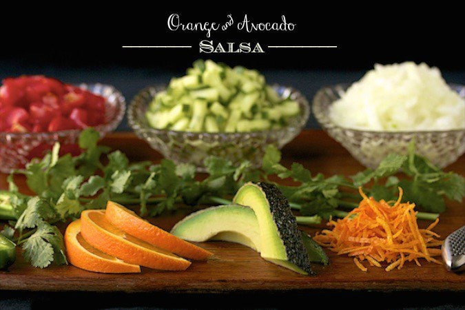 Orange and Avocado Salsa - this beautiful salsa is as fresh and delicious as it is pretty! Perfect with chips or spooned over grilled chicken, pork or seafood.