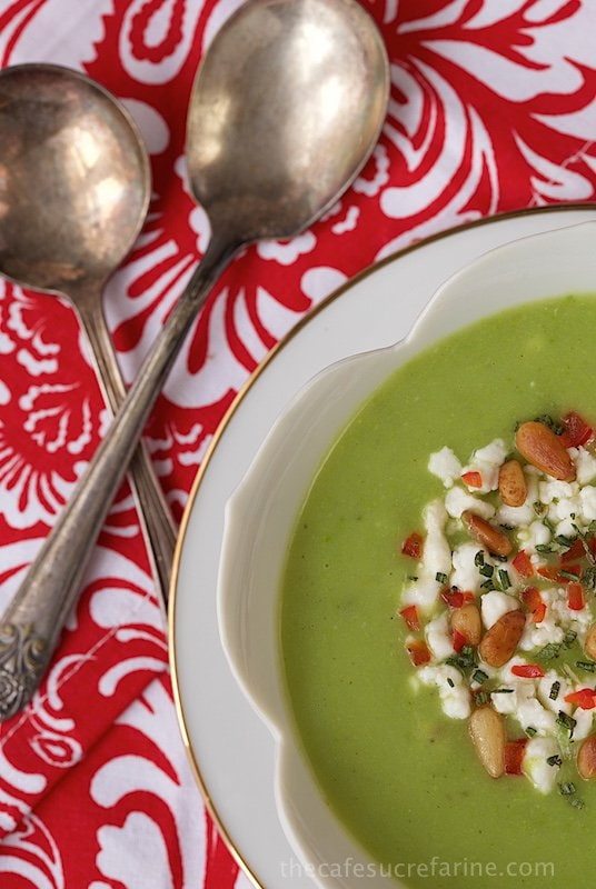 Sweet Pea and Potato Soup - delicious, healthy and perfect for lunch but it also makes a fun, fabulous and quite elegant appetizer soup!