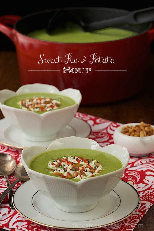 Sweet-Pea-and-Potato-Soup - I love serving this delicious, hearty soup for lunch with a grilled cheese sandwich on the side, but it also makes a fabulous, fun and quite elegant appetizer soup.