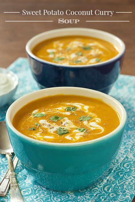 Sweet Potato Coconut Curry Soup - with lots of fresh veggies and coconut milk for creaminess this wonderful soup will become a family favorite, it has at our house!