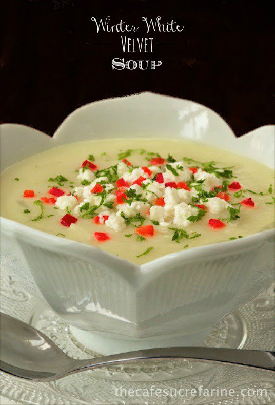 Winter White Velvet Soup - the most silky smooth, velvety soup made with tons of fresh veggies. No milk or cream but you'd never know it!