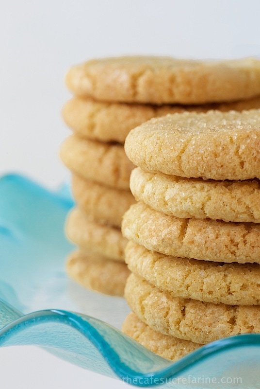 """Lemon and White Chocolate Sugar Cookies - my husband says I should """"charge admission"""" for this cookie recipe. They are really, really good with crisp, edges, chewy centers and lots of bright, lemon flavor!"""