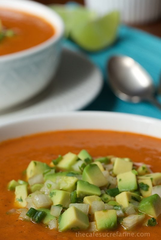 Southwestern Tomato and Roasted Pepper Soup with Best Avocado Salsa