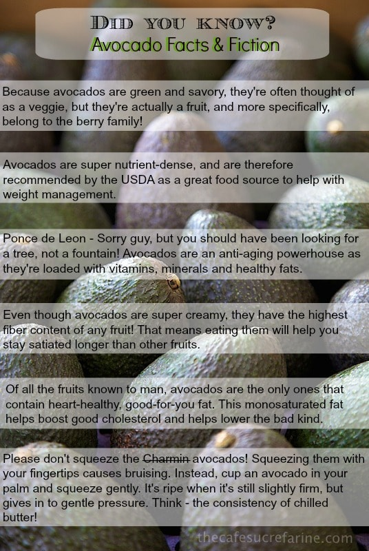 "Graphics with a background of multiple avocados with six factoids about avocados. Title states: ""Did you know? Avocados Fact & Fiction"""