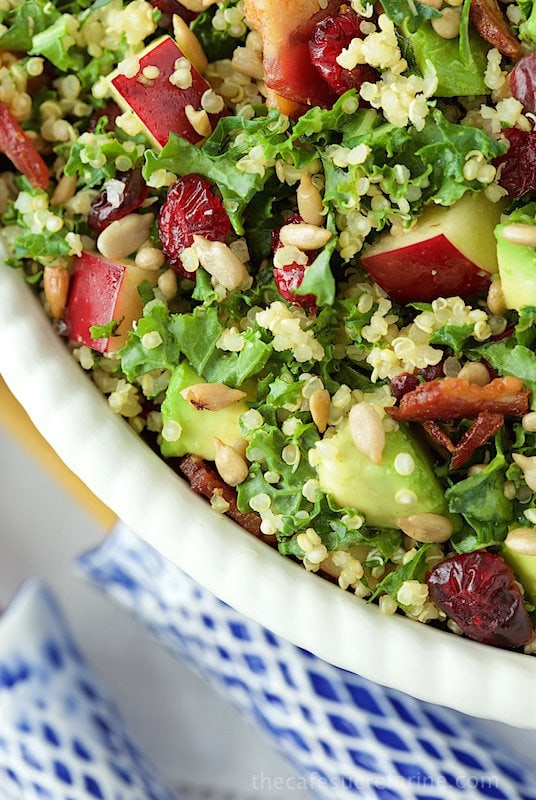 Quinoa and Kale Salad with Avocado, Apples and Bacon - we can't get enough of this healthy, super delicious salad. And I love that it's just as good the next day too!