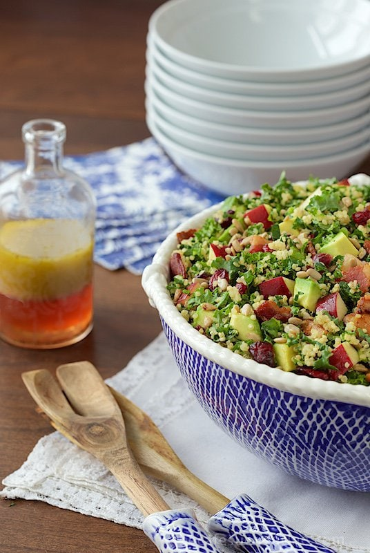 Quinoa and Kale Salad with Avocado, Apples and Bacon - we can't get enough of this healthy, super delicious salad. And I love that it's just as good the next day too! thecafesucrefarine.com