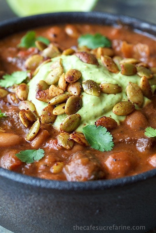 Beef and Bacon Chili - with tender beef, bacon and super tender pinto beans this delicious chili is perfect for guests, make ahead easy week night dinners and lunches for school or work.