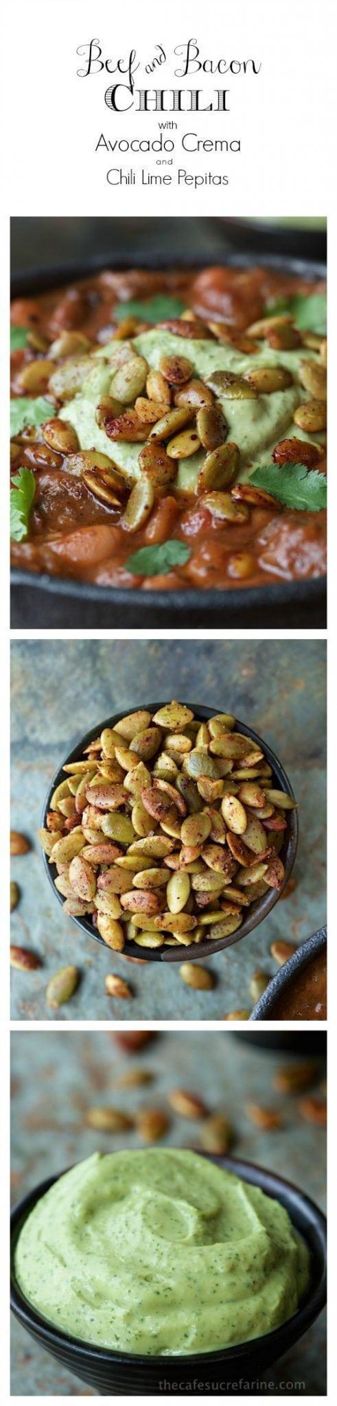 Collage photos of Beef and Bacon Chili, Chili Lime Pepitas and Avocado Crema.