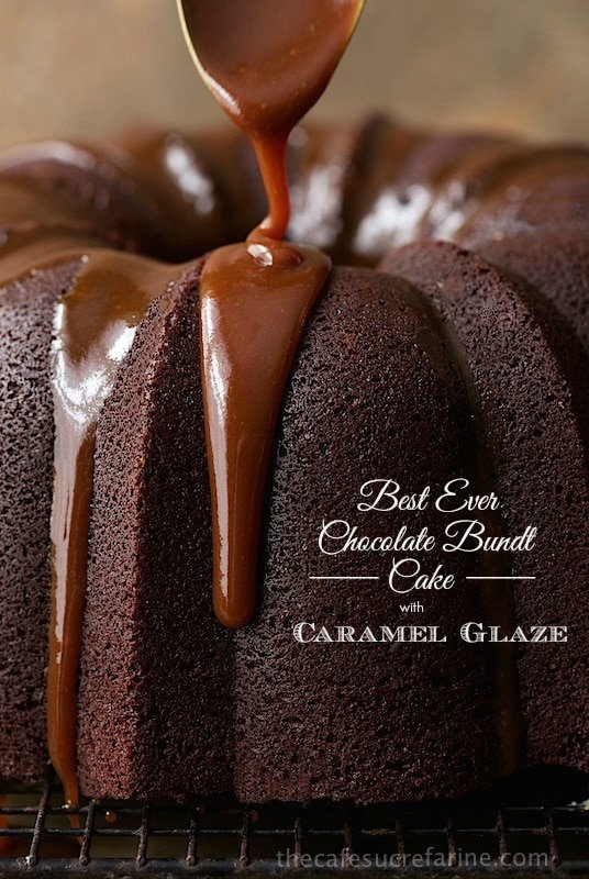 Best Ever Chocolate Bundt Cake with Caramel Glaze - this rich, decadent cake is super easy to throw together, no mixer necessary! It has a few fun secret ingredients too, but don't worry, no anchovies or anything weird like that!