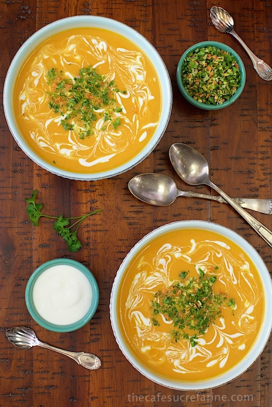 Thai Inspired Carrot and Yellow Pepper Soup - this bright, fragrant soup is loaded with healthy ingredients and bursting with fabulous flavor! It's great as an appetizer soup or for lunch or casual dinners.