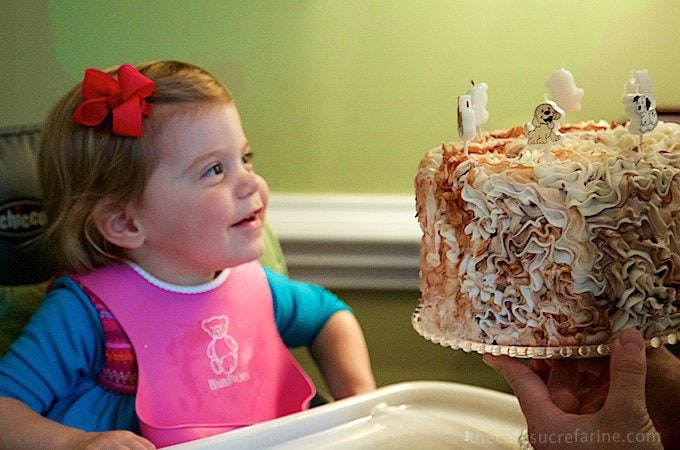 Photo of Emmy looking fondly a her birthday cake.