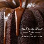 Irish Chocolate Bundt Cake with Caramel Glaze - this rich, decadent cake is super easy to throw together, no mixer necessary! It has a few fun secret ingredients too, don't worry, not anchovies or anything weird like that!