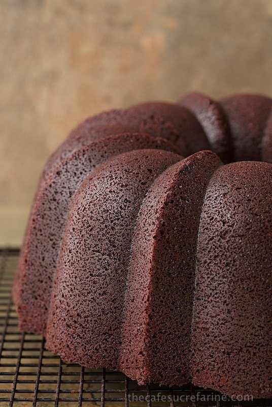 Close up picture of Best Ever Chocolate Bundt Cake on a cooling rack