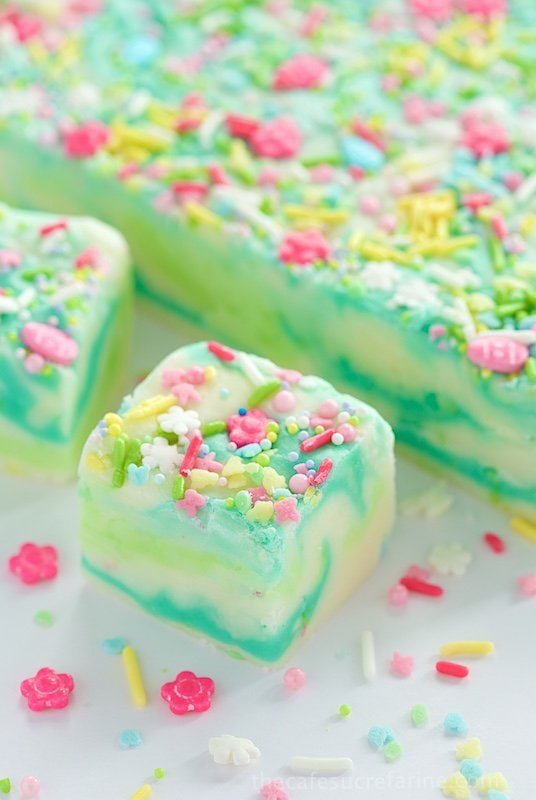 "Lemon and White Chocolate Spring Fantasy Fudge - the most fun, whimsical fudge to celebrate any special occasion. This one seem to shout ""spring""!"