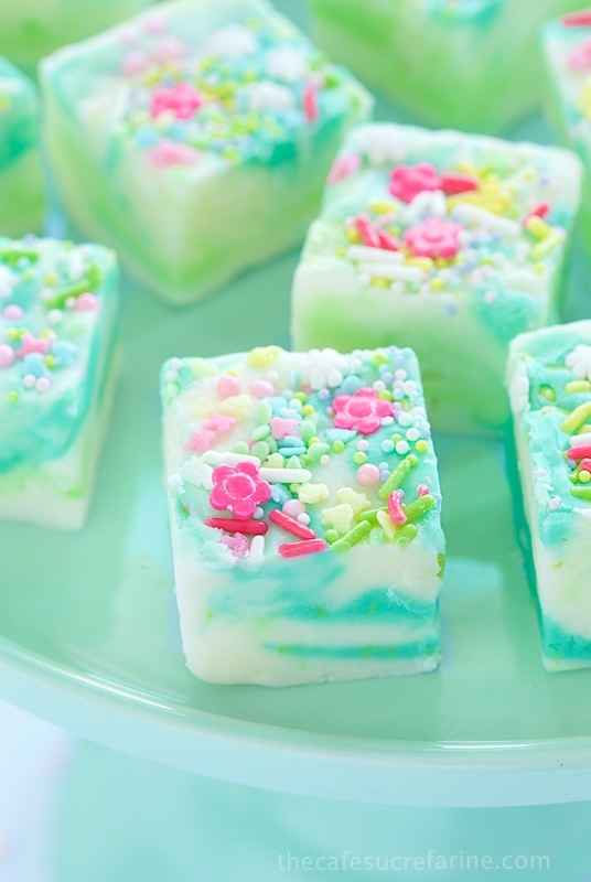 "Lemon and White Chocolate Spring Fantasy Fudge - the most fun, whimsical fudge to celebrate any special occasion. This one seem to shout ""spring""!)"
