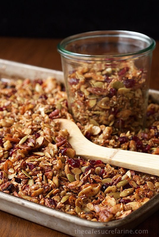 Paleo Granola - how can something so healthy be so... good? If you think you have a favorite granola recipe, this one will take you by surprise. It's delicious, super filling and EASY to throw together! thecafesucrefarine.com