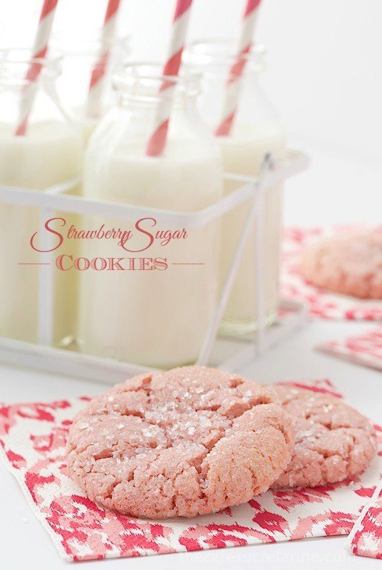 Strawberry Sugar Cookies - Crinkly Crackly on top, crisp on the edges and soft inside. On top of all that they're bursting with fresh strawberry flavor!