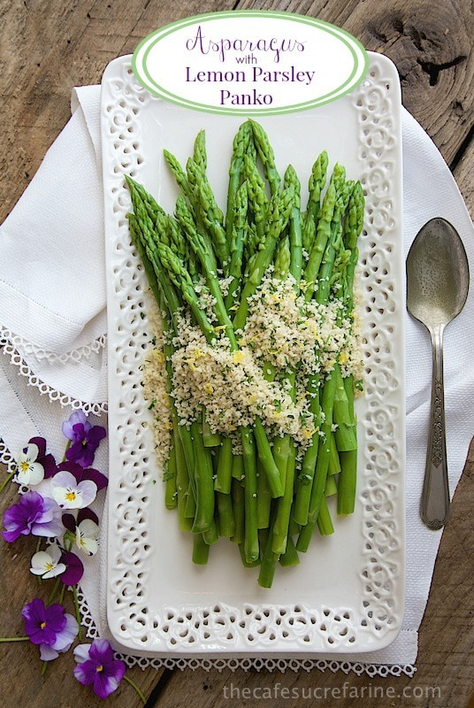 Asparagus with Lemon Parsley Panko - next time you see asparagus on sale, grab a bunch or two. This side is full of flavor but lets the delicious asparagus shine! It can made ahead of time too, love that! thecafesucrefarine.com