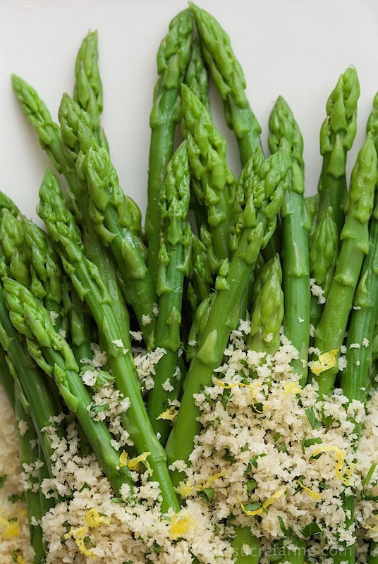 Close up picture of Asparagus with Lemon Parsley Panko