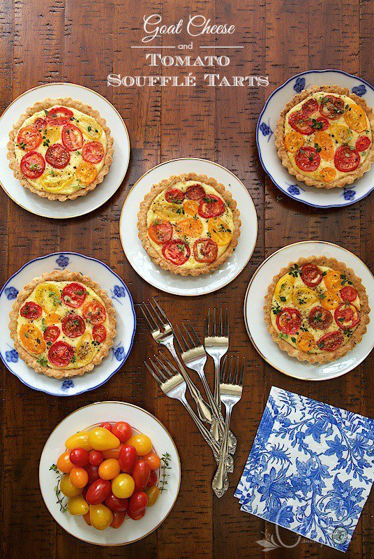 Goat Cheese and Tomato Soufflé Tarts - super delicious and make ahead, a perfect combination! thecafesucrefarine.com