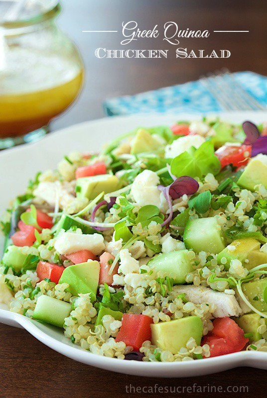 Greek Quinoa Chicken Salad - Bright, fresh and super healthy too! This salad will have you craving Mediterranean flavors!