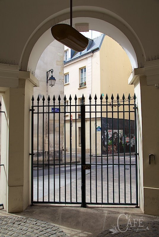 Our Little (very little) Paris Apartment in the Latin Quarter of Paris. We feel quitesafe here, as there is a large wrought iron (locked) gate with a security camera, a locked entrance to the apartment and then atriplelock on our door itself.