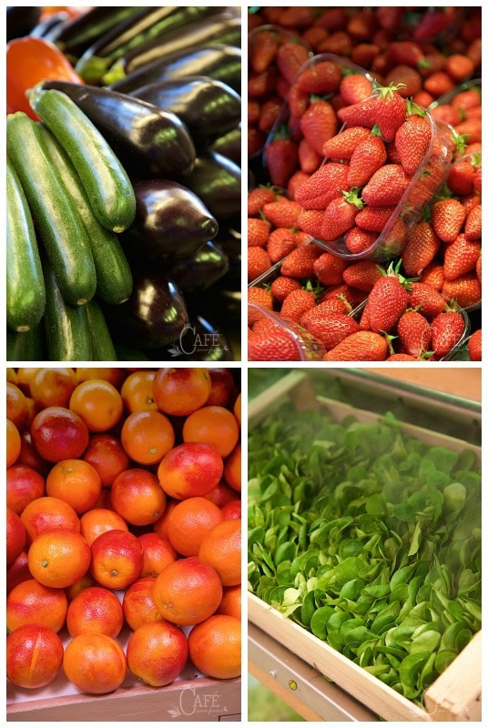Photo of fresh vegetables from a French open market in Paris with Promenades Gourmandes Cooking School chef, Paule Caillat.
