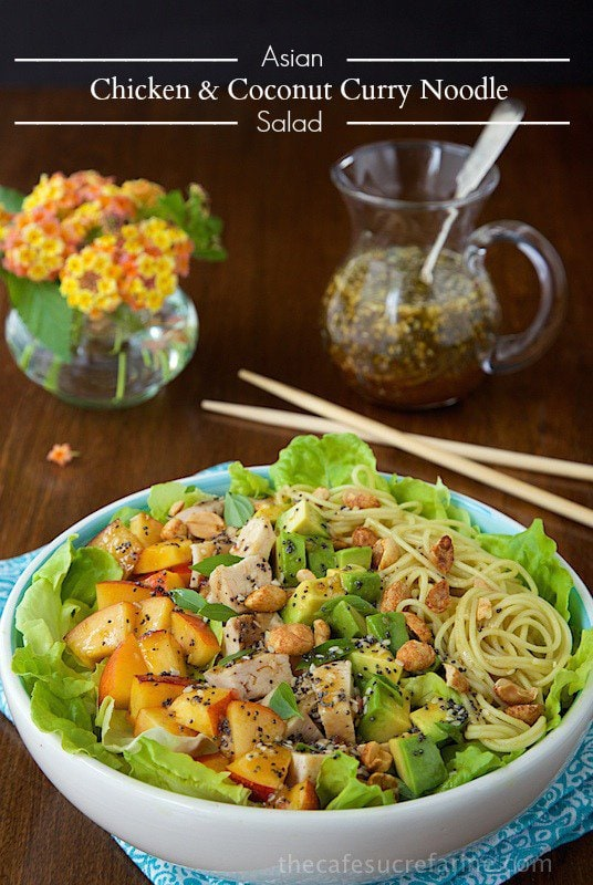 Asian Chicken and Coconut Curry Noodle Salad - A fabulous meal in a bowl - fresh, healthy and CRAZY-delicious! www.thecafesucrefarine.com