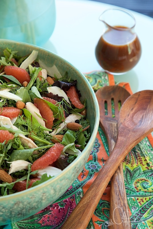 This Provencal Roasted Chicken Salad with Mango Curry Dressing has bright, delicious flavors that hearken back to a trip to the Provence region of France.