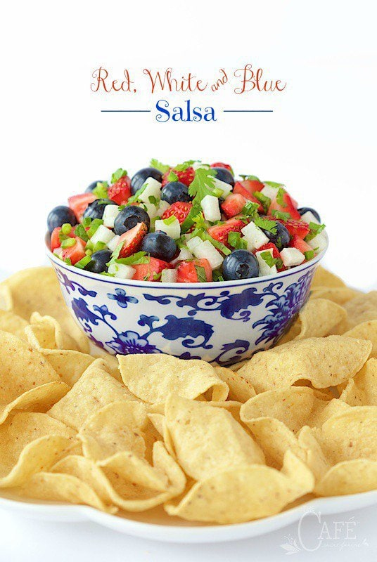 Red, White and Blue Salsa - it's bright, fresh, delicious; and oh so patriotic! www.thecafesucrefarine.com