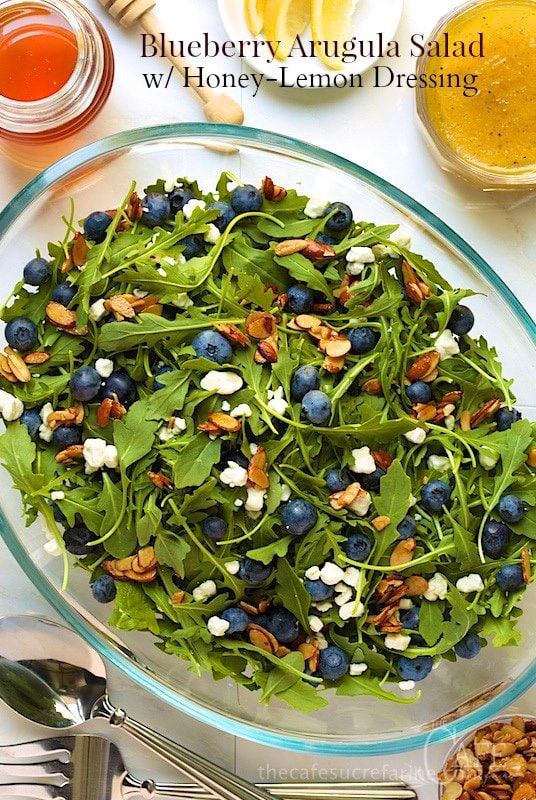 Blueberry Arugula Salad - if you're looking for a summery salad that everyone will love, look no further - this one checks all the boxes. It's super simple to put together too and looks gorgeous on the table or buffet. www.thecafesucrefarine.com