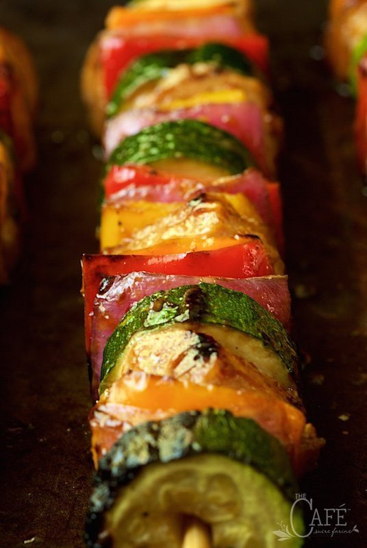 Horizontal closeup photo of a Asian Barbecued Chicken and Veggie Skewer.