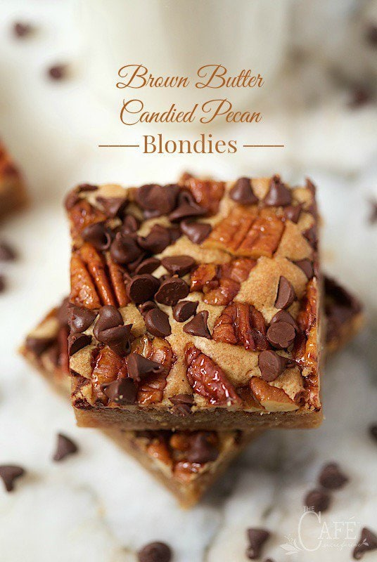 Brown Butter Candied Pecan Blondies - although these are super easy to put together (one pot, one spoon, no mixer!) my family thinks these are one of the best things they've EVER eaten!! www.thecafesucrefarine.com