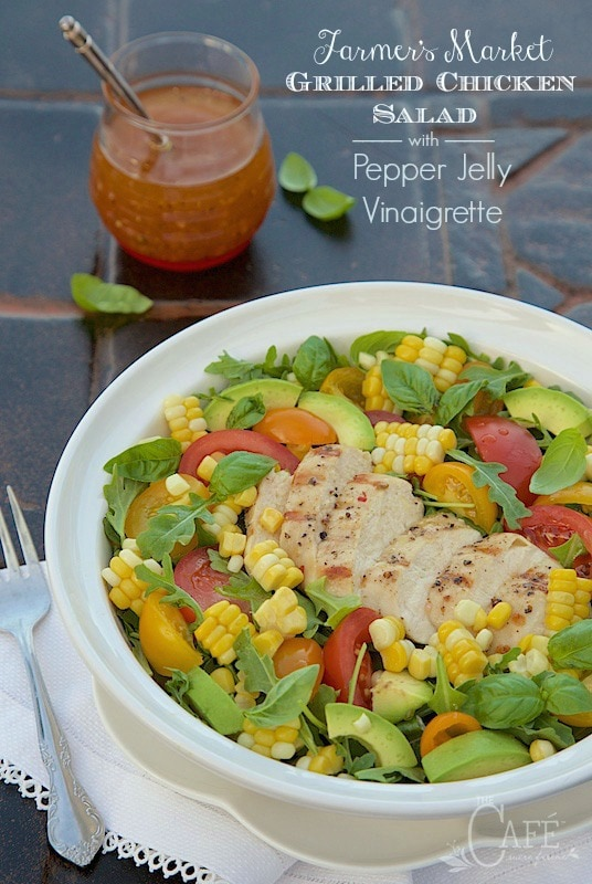 Farmer's Market Grilled Chicken Salad with Pepper Jelly Vinaigrette - the secrets to grilling moist, juicy chicken breasts to top a fabulous fresh summer salad with a sweet and spicy dressing! thecafesucrefarine.com