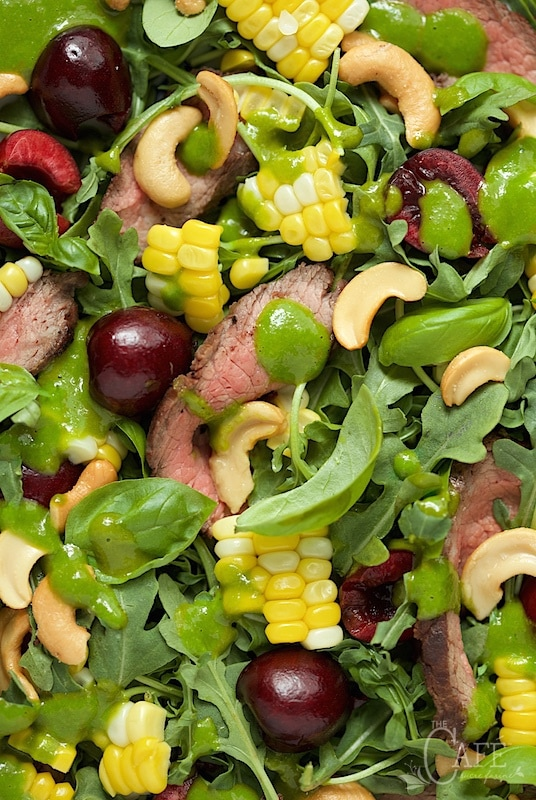 Grilled Steak Salad with Sweet Cherries and Ginger Basil Dressing - a perfect summer salad; it's fresh, healthy, hearty enough for the guys and super delish! www.thecafesucrefarine.com