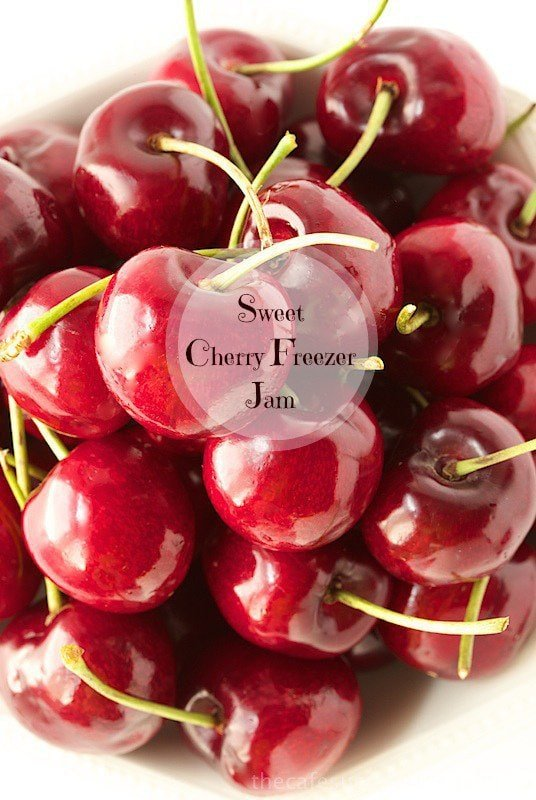 Sweet Cherry Freezer Jam - capture summer in a jar with this delicious, super easy jam. www.thecafesucrefarine.com
