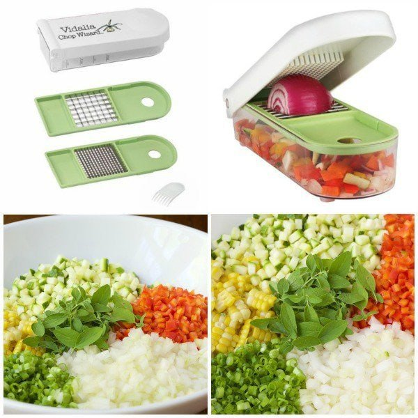 Collage image of Vidalia Veggie Chopper and veggies chopped with it.