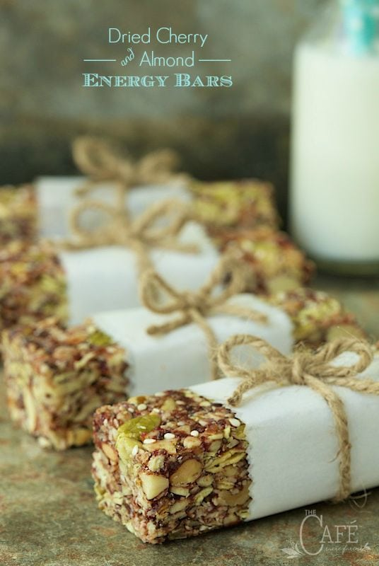 """Dried Cherry and Almond Energy Bars - not only incredibly healthy, these bars are crazy good. My son says they're """"better than Kind Bars!"""" thecafesucrefarine.com"""