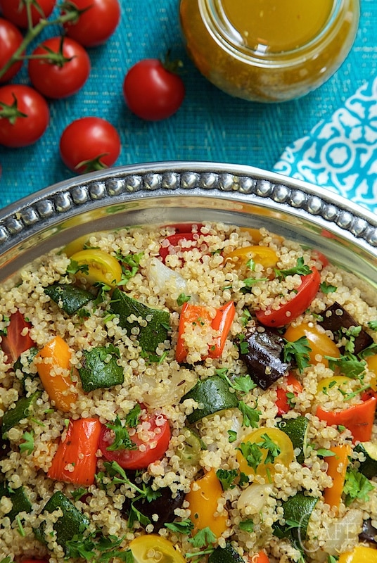 Roasted Ratatouille Quinoa Salad - this fabulous veggie-laden dish makes a perfect side for any grilled or roasted entree. And there's a easy technique for cooking perfect quinoa, every time! www.thecafesucrefarine.com