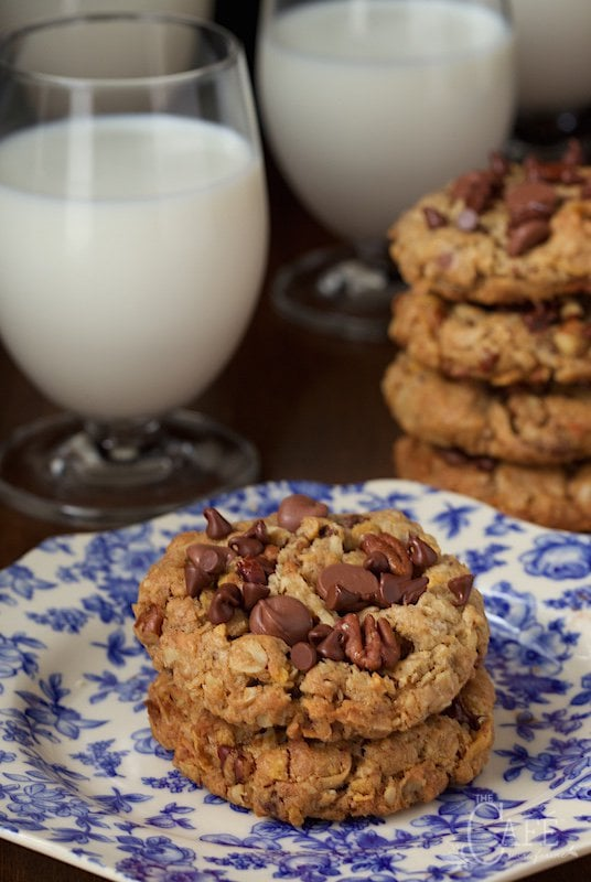 Toffee Cowboy Cookies - an old classic treat with a few fun twists, these delicious cookies are loaded with chocolate chips, sweet toffee bits and crisp toasted pecans. www.thecafesucrefarine.com