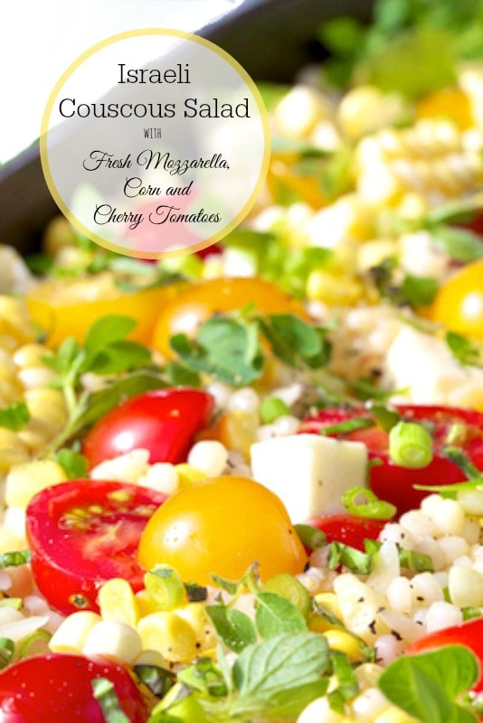 Israeli Couscous and Orzo Pasta Salad - classic Caprese flavors with a few fun twists! www.thecafesucrefarine.com
