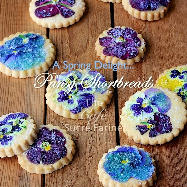 Pansy Shortbread Cookies - www.thecafesucrefarine.com