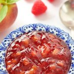 Peach Raspberry Freezer Jam -take 30 minutes to throw together a batch of this yummy jam! It's really easy and you'll be thanking yourself when the cold winds blow!