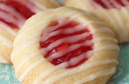 Peach Raspberry Thumbprint Cookies