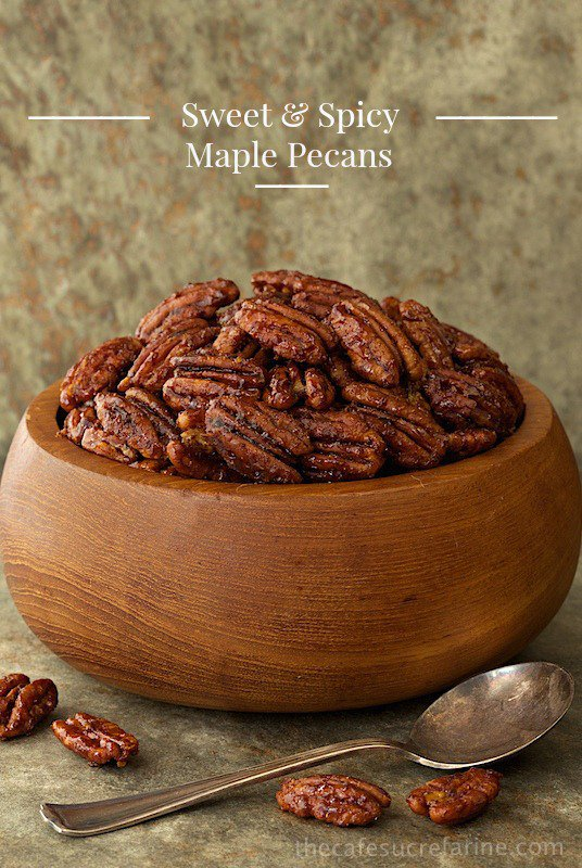 Sweet and Spicy Pecans - the most deliciously addicting snack, salad topper, cocktail nibble ever! You will find yourself going back for more! www.thecafesucrefarine.com