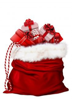 Image of a large red velvet stocking with a white fur top, filled with wrapped gifts.