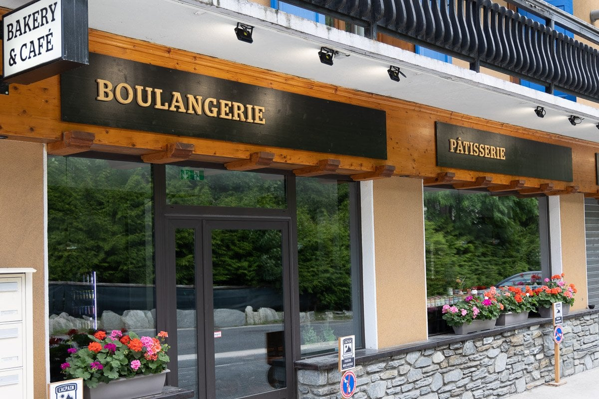 Horizontal photo of one of the three bakeries (Boulangeries) in Argentiére, France.