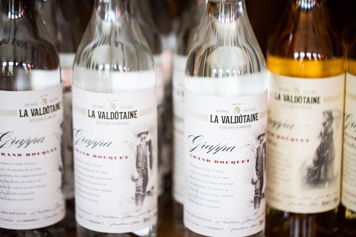 Horizontal closeup photo of liquor products made in Italy by La Valdotaine.